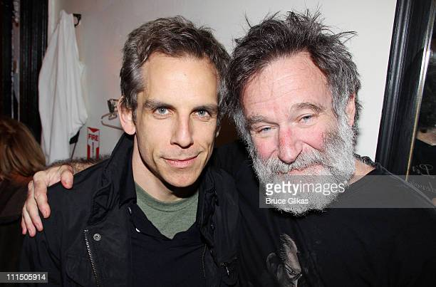 Ben Stiller and Robin Williams pose backstage at the hit play Bengal Tiger At The Baghdad Zoo on Broadway at The Richard Rogers Theater on April 3...