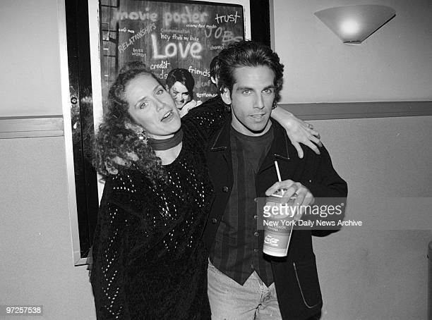 "Ben Stiller and sister Amy Stiller attending screening of ""Reality Bites."" She's in the movie.,"