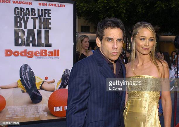 "Ben Stiller and wife Christine Taylor during ""Dodgeball: A True Underdog Story"" World Premiere - Red Carpet at Mann Village Theater in Westwood,..."