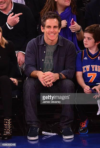Ben Stiller attends the Chicago Bulls vs New York Knicks game at Madison Square Garden on October 29 2014 in New York City