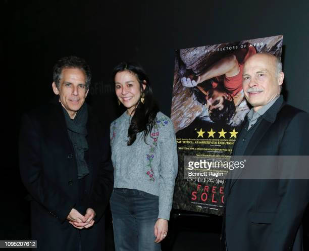 "Ben Stiller Chai Vasarhelyi and Bob Eisenhardt attend an IMAX screening of National Geographic Documentary Films ""Free Solo"" at AMC Empire on January..."