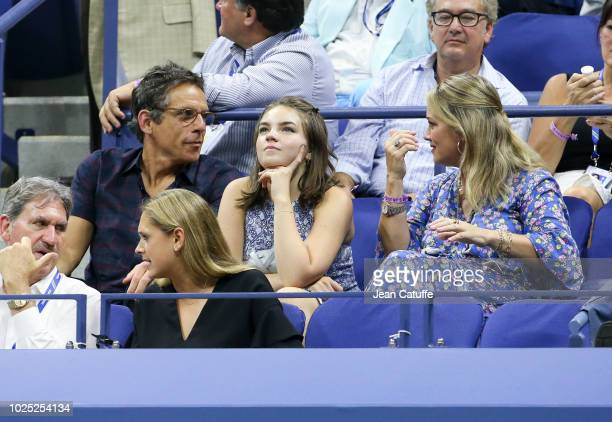 Ben Stiller Christine Taylor and their daughter Ella Stiller attend day 3 of the 2018 tennis US Open on Arthur Ashe stadium at the USTA Billie Jean...