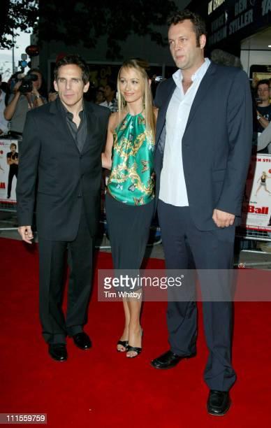 "Ben Stiller, Christine Taylor and Vince Vaughn during ""Dodgeball"" London Premiere - Arrivals at Odeon Kensington in London, Great Britain."