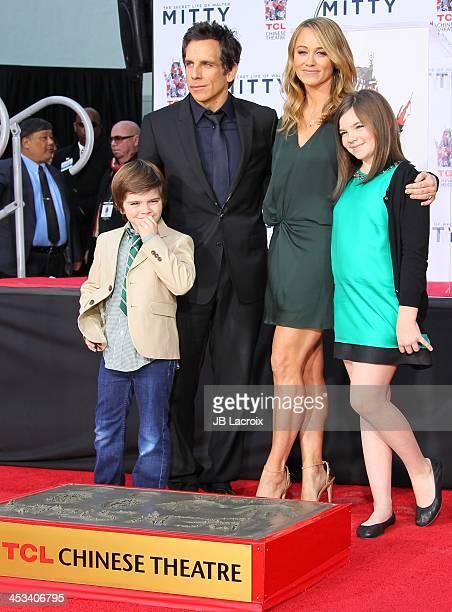 Ben Stiller, Christine Taylor, Quinlin Stiller and Ella Stiller attend the hand and footprint ceremony honoring Ben Stiller held at TCL Chinese...