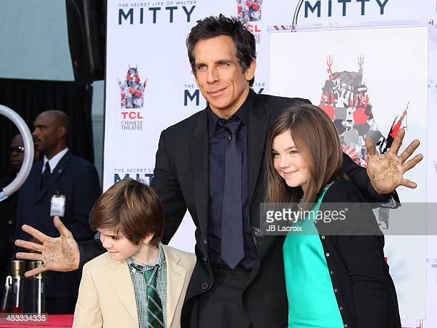 Ben Stiller, Christine Taylor, Quinlin Stiller and Ella Stiller pose as he is honored with a hand and footprint ceremony at TCL Chinese Theatre on...