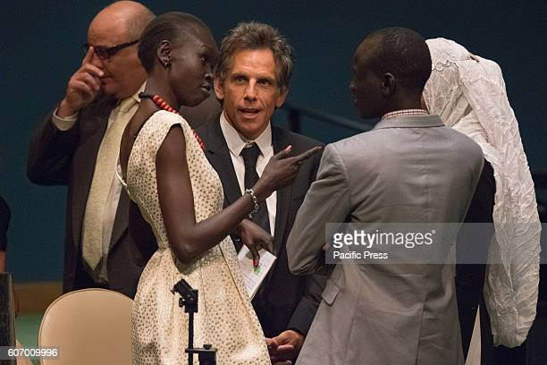 Ben Stiller converses with Alek Wek and Yiech Pur Biel after the ceremony. Three days before the opening of the United Nations high-level Summit on...