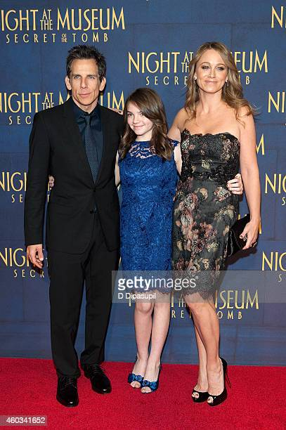 """Ben Stiller, daughter Ella Stiller, and wife Christine Taylor attend the """"Night At The Museum: Secret Of The Tomb"""" New York Premiere at the Ziegfeld..."""