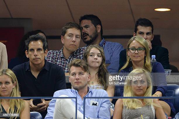 Ben Stiller Ella Olivia Stiller and Christine Joan TaylorStiller are sighted on Arthur Ashe Stadium day 1 of the 2015 US Open at USTA Billie Jean...