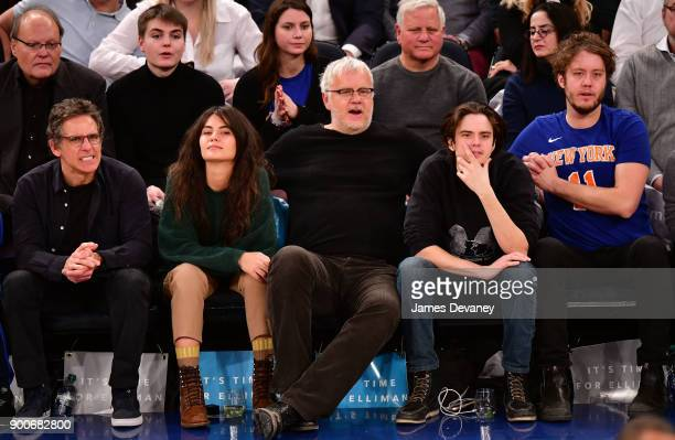 Ben Stiller guest Tim Robbins Miles Robbins and Jack Robbins attend the New York Knicks Vs San Antonio Spurs game at Madison Square Garden on January...