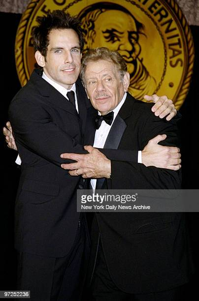 Ben Stiller has a hug for his dad, Jerry Stiller, at Friars Club Roast for Jerry at the Hilton Hotel.