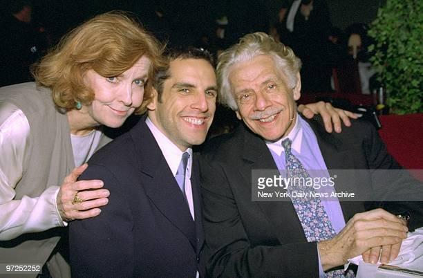 Ben Stiller is joined by his parents Jerry Stiller and Anne Meara at benefit party for the premiere of the movie Flirting With Disaster Ben Stiller...
