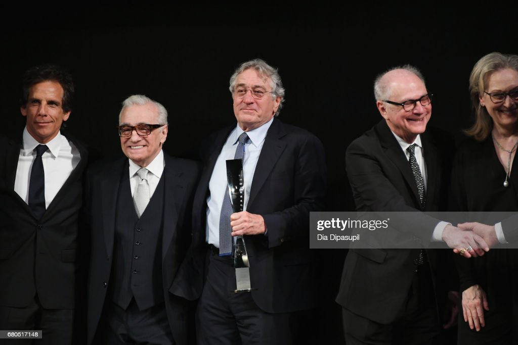 Ben Stiller, Martin Scorsese, Robert De Niro, Barry Levinson and Meryl Streep pose onstage during the 44th Chaplin Award Gala at David H. Koch Theater at Lincoln Center on May 8, 2017 in New York City.