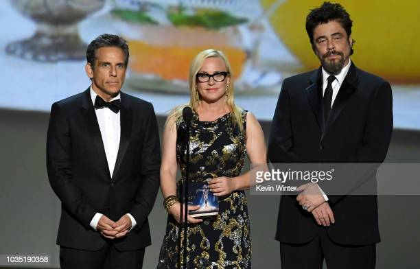 Ben Stiller Patricia Arquette and Benicio del Toro speak onstage during the 70th Emmy Awards at Microsoft Theater on September 17 2018 in Los Angeles...