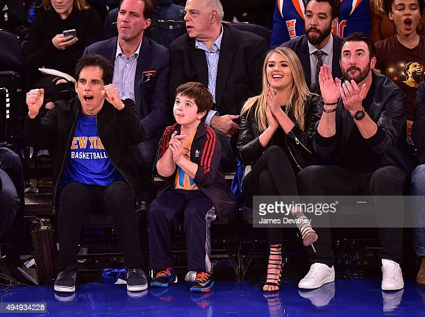 Ben Stiller Quinlin Dempsey Stiller Kate Upton and Justin Verlander attend the Atlanta Hawks vs New York Knicks game at Madison Square Garden on...