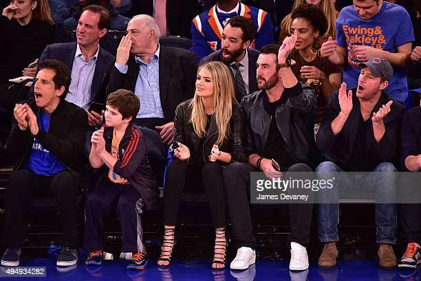 Ben Stiller Quinlin Dempsey Stiller Kate Upton Justin Verlander and Ed Burns attend the Atlanta Hawks vs New York Knicks game at Madison Square...