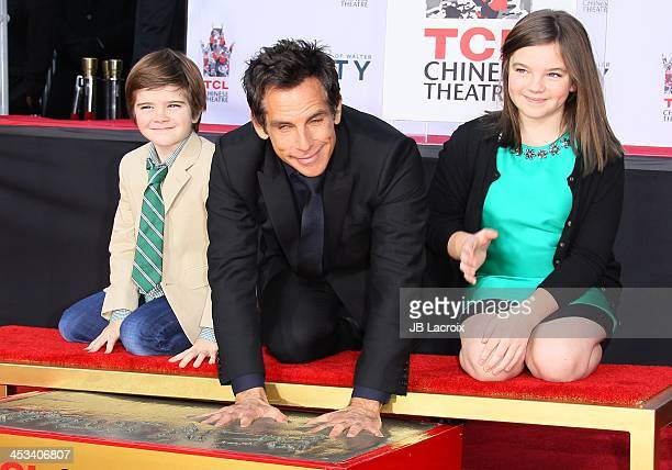 Ben Stiller, Quinlin Stiller and Ella Stiller attend his hand and footprint ceremony honoring him at TCL Chinese Theatre on December 3, 2013 in...