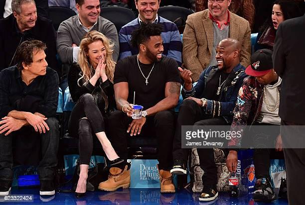 Ben Stiller Ragon Miller Jason Derulo and Floyd Mayweather attend New York Knicks vs Dallas Mavericks game at Madison Square Garden on November 14...