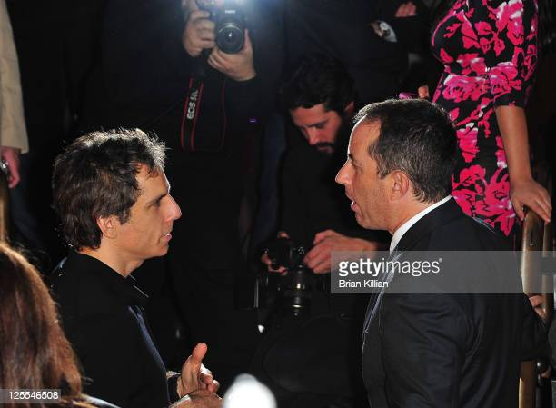 Ben Stiller talks to Jerry Seinfeld during the Colin Quinn Long Story Short Broadway opening night after party at Forty Four at the Royalton on...