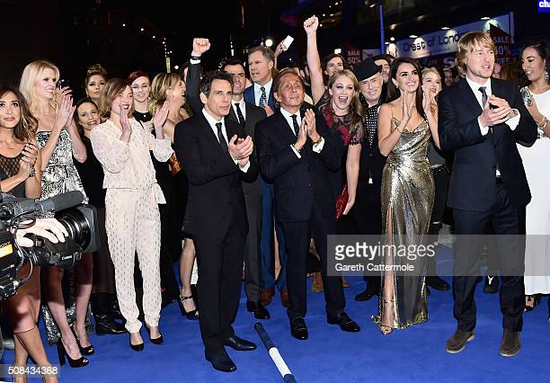 Ben Stiller with cast and guests celebrate after record breaking selfie attempt during a London Fan Screening of the Paramount Pictures film...