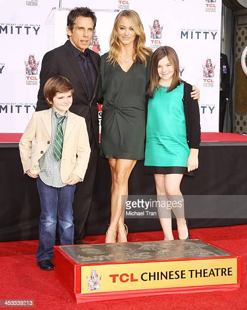 Ben Stiller with Christine Taylor and their children attend the hand and footprint ceremony honoring Ben Stiller held at TCL Chinese Theatre on...