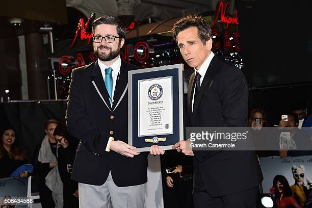 Ben Stiller with the certificate for the record breaking selfie attempt during a London Fan Screening of the Paramount Pictures film 'Zoolander No 2'...
