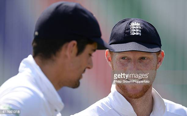 Ben Stokes and Alastair Cook after England won the first test match between Bangladesh and England at Zohur Ahmed Chowdhury Stadium on October 24...