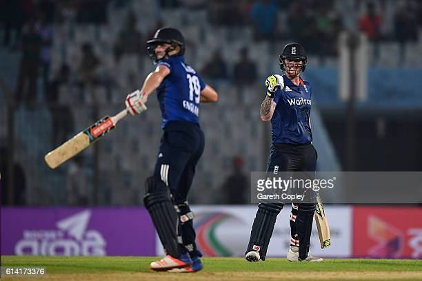 Ben Stokes and Chris Woakes of England celebrate winning the 3rd One Day International match between Bangladesh and England at Zohur Ahmed Chowdhury...