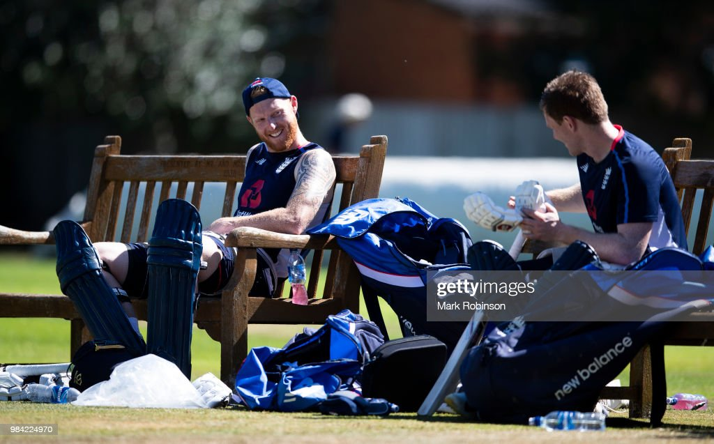 Ben Stokes and Eoin Morgan of England during a nets session at Edgbaston on June 26, 2018 in Birmingham, England.