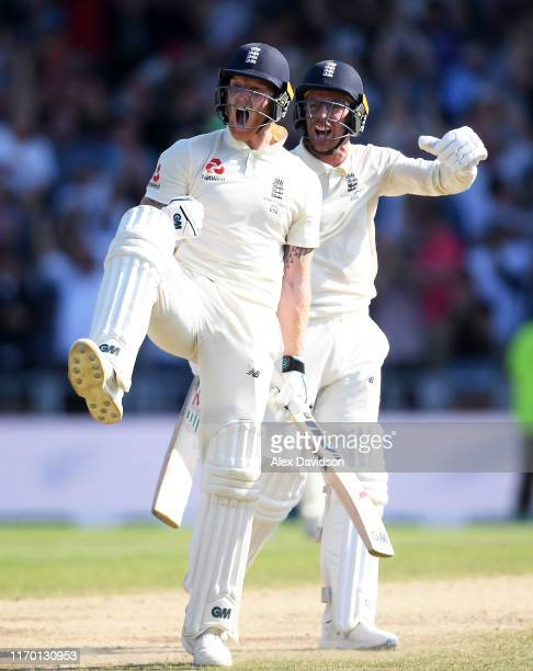 Ben Stokes and Jack Leach of England celebrate the winning runs and victory during Day Four of the 3rd Specsavers Ashes Test match between England...