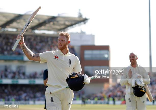 Ben Stokes and Jack Leach of England celebrate victory during day four of the 3rd Specsavers Ashes Test match between England and Australia at...