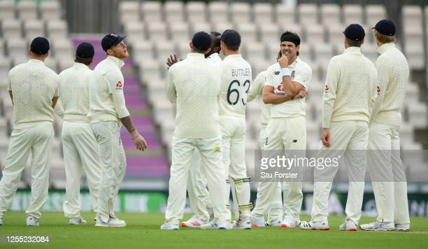Ben Stokes and James Anderson of England reacts after having their appeal turned down by the 3rd umpire during day two of the 1st #RaiseTheBat Test...