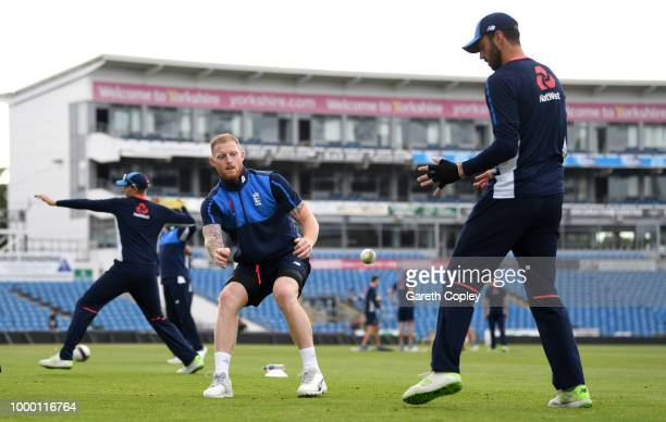 Ben Stokes and James Vince of England take part in a fielding drill during a net session at Headingley on July 16 2018 in Leeds England
