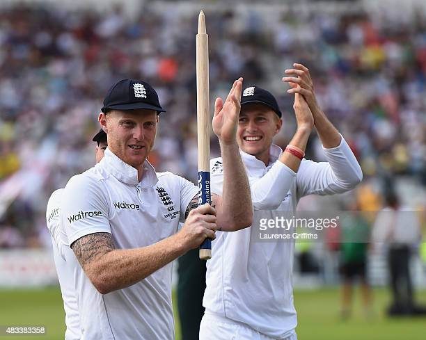 Ben Stokes and Joe Root of England celebrates winning the Ashes during day three of the 4th Investec Ashes Test match between England and Australia...