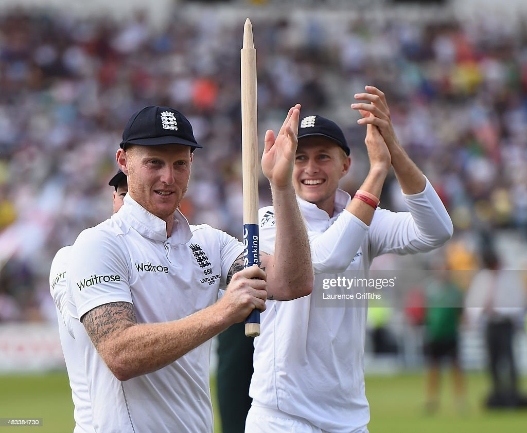 Ben Stokes and Joe Root of England celebrates winning the Ashes during day three of the 4th Investec Ashes Test match between England and Australia at Trent Bridge on August 8, 2015 in Nottingham, United Kingdom.