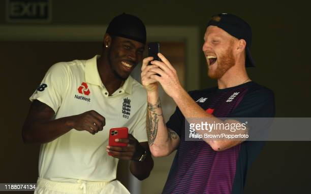 Ben Stokes and Jofra Archer of England laugh before play at Cobham Oval on November 17 2019 in Whangarei New Zealand