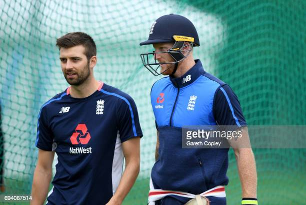 Ben Stokes and Mark Wood of England during a nets session at Edgbaston on June 9 2017 in Birmingham England