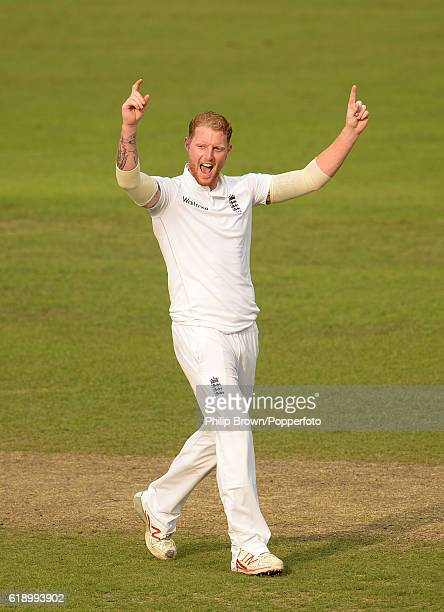 Ben Stokes celebrates after dismissing Mominul Haque during the second day of the second test match between Bangladesh and England at Shere Bangla...