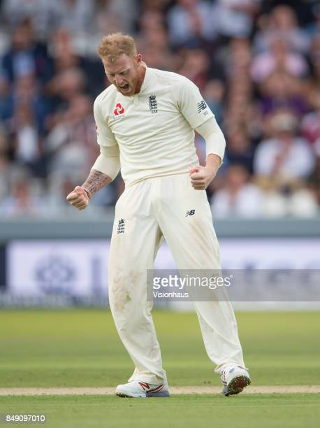 Ben Stokes celebrates taking the wicket of Kemar Roach of West Indies during Day One of the 3rd Investec Test Match between England and West Indies...