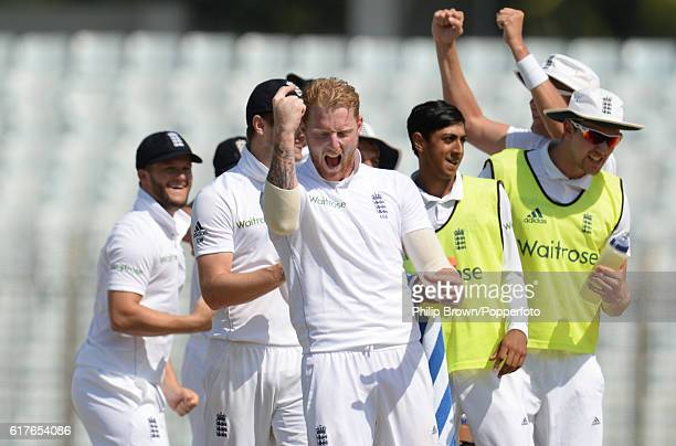 Ben Stokes celebrates winning the test on the fifth day of the first test match between Bangladesh and England at Zohur Ahmed Chowdhury Stadium on...