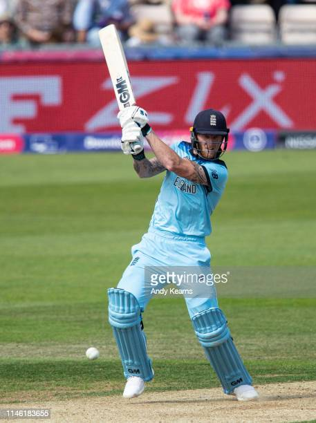 Ben Stokes drives during the ICC Cricket World Cup 2019 Warm Up match between England and Australia at Ageas Bowl on May 25 2019 in Southampton...