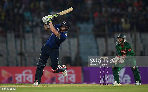 Ben Stokes hits out for six runs during the 3rd One Day International match between Bangladesh and England at Zohur Ahmed Chowdhury Stadium on...