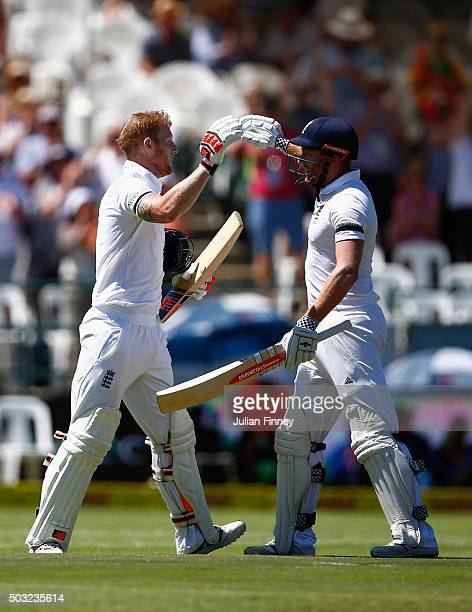 Ben Stokes is congratulated by Jonny Bairstow of England after he scored his century during day two of the 2nd Test at Newlands Stadium on January 3...