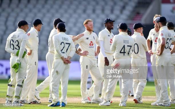 Ben Stokes looks on with teammates after dismissing Mohammad Rizwan of Pakistan during Day Three of the 1st #RaiseTheBat Test Match between England...