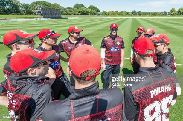 Ben Stokes of Canterbury and his team mates huddle prior to the One Day Ford Trophy Cup match between Canterbury and Northern Districts on December...
