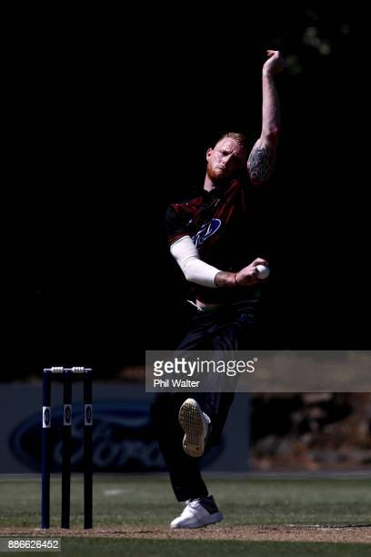 Ben Stokes of Canterbury bowls during the Ford Trophy match between Auckland and Canterbury at Eden Park on December 6 2017 in Auckland New Zealand
