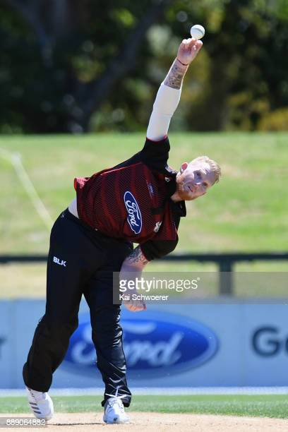 Ben Stokes of Canterbury bowls during the One Day Ford Trophy Cup match between Canterbury and Northern Districts on December 10 2017 in Christchurch...