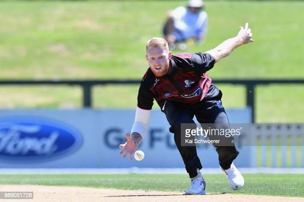 Ben Stokes of Canterbury fields the ball off his own bowling during the One Day Ford Trophy Cup match between Canterbury and Northern Districts on...