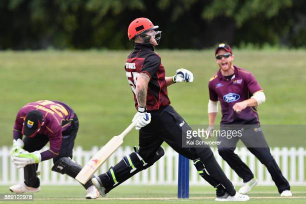 Ben Stokes of Canterbury is run out for 0 runs during the One Day Ford Trophy Cup match between Canterbury and Northern Districts on December 10 2017...