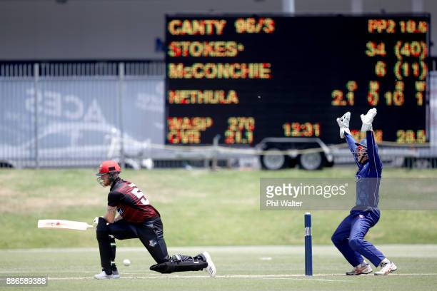 Ben Stokes of Canterbury is trapped LBW by Tarun Nethula of Auckland during the Ford Trophy match between Auckland and Canterbury at Eden Park on...