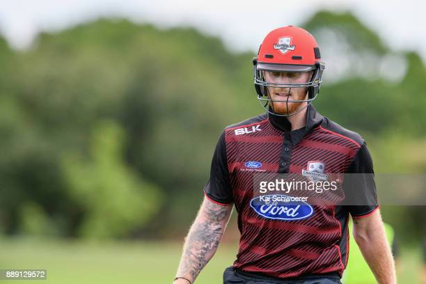 Ben Stokes of Canterbury looks dejected after being run out for 0 runs during the One Day Ford Trophy Cup match between Canterbury and Northern...